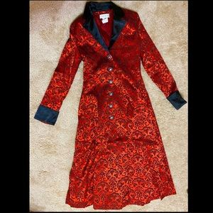 Jackets & Blazers - Red Brocade Gothic Trench Coat Size Small